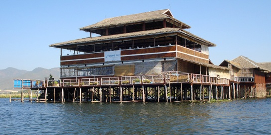 A typical pole house restaurant, Inle lake
